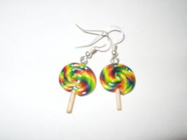 Rainbow Lollipop Earrings by KittyAzura