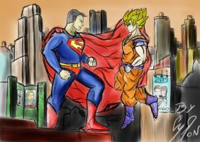 Superman VS Goku by CyronDaio
