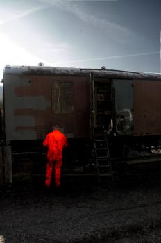 Orange Man with a Train by roobaa
