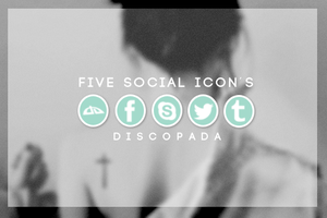 Five social icons by Discopada