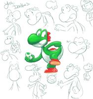 Yoshi Doodles by Colourful-Prismafire