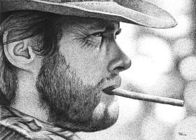 Clint in Art Pen by ronmonroe