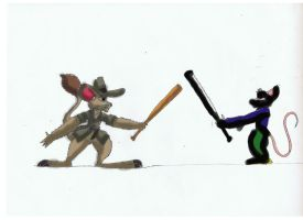 Jake with Bat vs Mouse thug by Rafe15