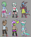 [REDUCED] Funky Anthro Adopts: OPEN by lesbian-mermaid