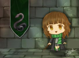 chibi Hogwarts student Slytherin by Tefaloid
