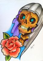 Oldschool Skull and Rose design by munky69