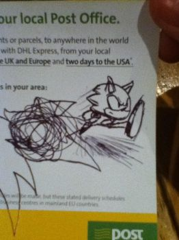 sonic... on a post leaflet by adamero