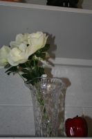 White Roses in Clear Vase and Red Pepper by InsanePaintStripes