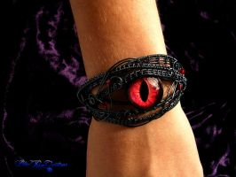 Wire Wrapped Dragon Eye Bracelet - Smoke and Flame by LadyPirotessa