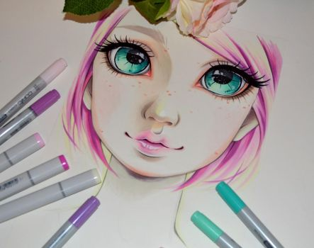 Pink Haired Girl by Lighane