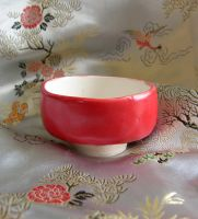 Japanese bright red tea bowl by CorazondeDios