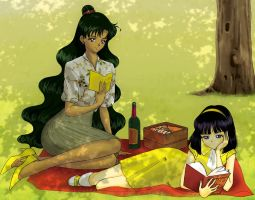 20th Century Senshi - 1960's Setsuna and Hotaru by Sillabub429