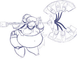 pudgy with an axe by Purrine