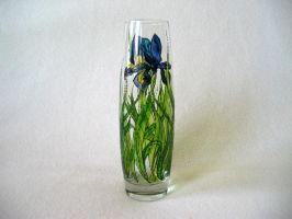 Painted glass bud vase - Iris by Elriell