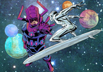 Galactus and his reblious minion by greenestreet