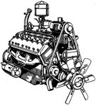 Lincoln Zephyr V12 engine public domain stock by IHCOYC