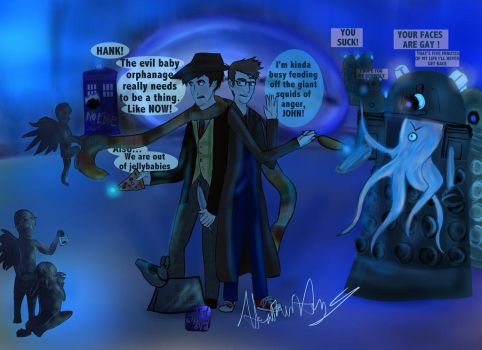 Doctor Who Vlogbrothers Cross-over by SylarSushiCat