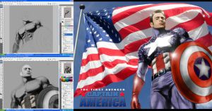 CAPTAIN AMERICA WIP SHOTS by commando-kev