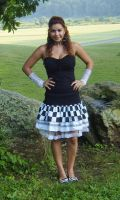 Large Checkered print skirt by funkyfunnybone