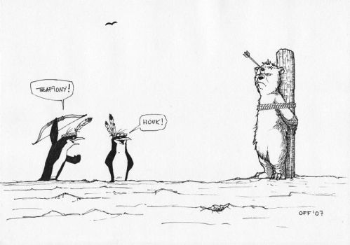 Penguins and polar bear 5 by OFFO