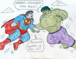 The Hulk vs Bizarro by Jose-Ramiro