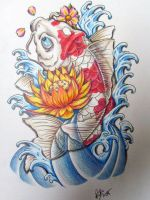 Koi Red n' White with lotus by EdilsonR74