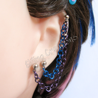 Purple and Blue Connecting Chain Earring by merigreenleaf