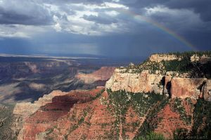 Rainbow over Grand Canyon by victimofemotion