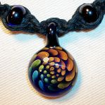 Rainbow Boro Glass Gold Silver Fume Hemp Necklace by Psy-Sub