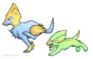 Electrike and Manectric by CicadaNoise