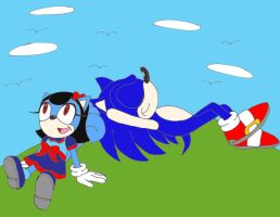 Sonic and Kida on the hill by sammychan816