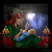 Lily Potter and baby Harry by HogwartsArt