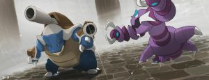 Pokemon: Mega Blastoise and Drapion