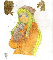 Winry with a kitten by EdwardxWinryrocks