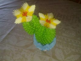 3D Origami Blooming Cactus by TheGenov