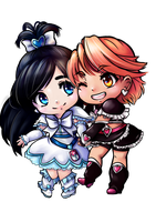 Cure Black and Cure White Chibis by Frills-Of-Justice