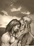 Tyr and Fenrir by Meredyth