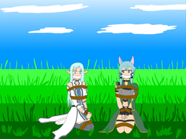 Asuna and Sinon Commission by SuperTailsHero