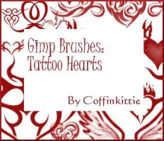 Gimp Brushes: Tattoo Hearts by coffinkittie