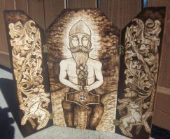 The Thunderer -  Thor Wood-burned triptych by runehammer9