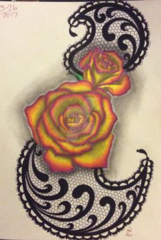 Colored roses on lace by LadyCelticRose