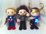 Tony Steve and Loki - Avengers by PlanetPlush