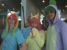 Anime Expo 2012 Spike, Fluttershy, and RainbowDash by Fainting-Ostrich