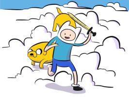 finn and jake in cloud land by choc-attack