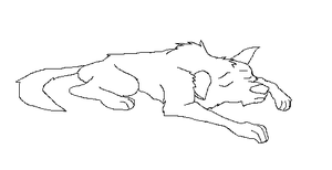 Wolf, dog sleeping lineart by ShadowWolfBases