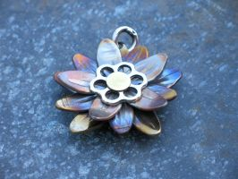 Lotus Pendant with Flower of Life abstract by ou8nrtist2