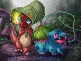 Charmander and Bulbasaur in a rainy day! by Beniani