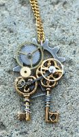 Double Key Gear Necklace by Drayok