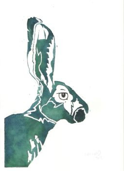Green and Blue Hare Portrait by SuicideNeil