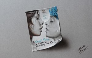 Blue is the Warmest Color Movie Poster DRAWING by marcellobarenghi